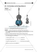 Kontrabass und Geige - Arbeitsblatt mit Aufgaben zum Vergleichen der Saiten und zur Entstehung von verschiedenen Tonhöhen Preview 1
