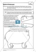 Kunstunterricht rund um das Thema Zoo - Eine Nilpferd-Stabpuppe basteln Preview 1