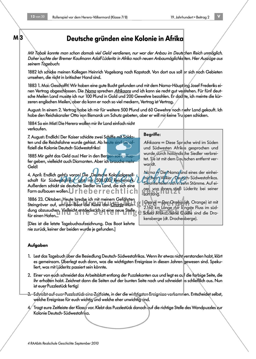 Deutsche Kolonialherren und afrikanische Ureinwohner: Die Geschichte der Kolonie Deutsch-Südwestafrika in Gruppen erarbeiten und als Puzzle zusammensetzen und präsentieren Preview 3