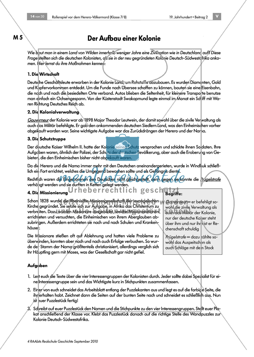 Deutsche Kolonialherren und afrikanische Ureinwohner: Die Geschichte der Kolonie Deutsch-Südwestafrika in Gruppen erarbeiten und als Puzzle zusammensetzen und präsentieren Preview 4
