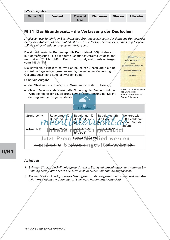Beginn der Westintegration von der Einführung des Grundgesetzes bis zu europäischen Partnerschaften Preview 0