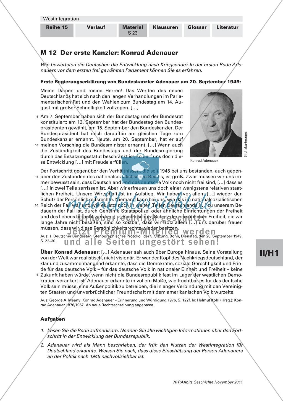 Beginn der Westintegration von der Einführung des Grundgesetzes bis zu europäischen Partnerschaften Preview 1
