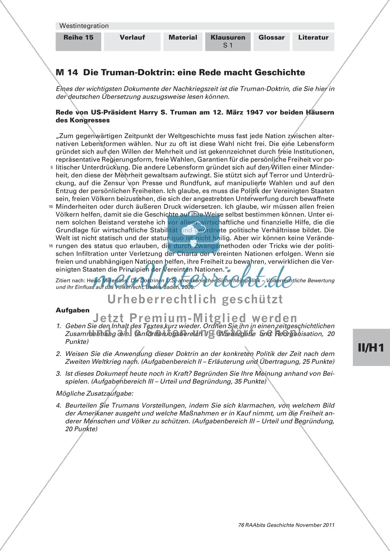 Lernerfolgskontrolle zur Westintegration am Beispiel der Truman-Doktrin Preview 0