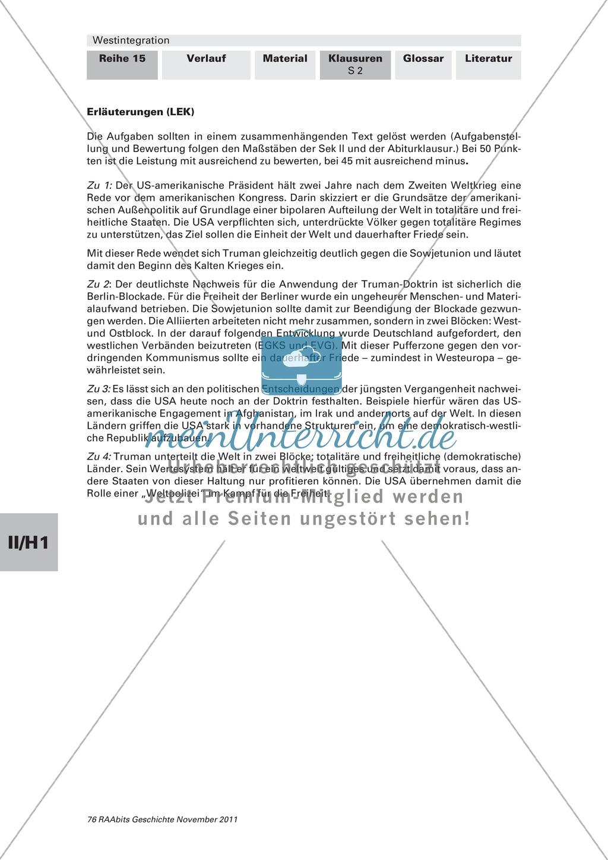 Lernerfolgskontrolle zur Westintegration am Beispiel der Truman-Doktrin Preview 1