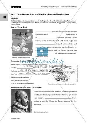 Mechanik: Die Geschichte der Physik des Fliegens. Mit Infomaterial, Aufgaben und Lösungen.