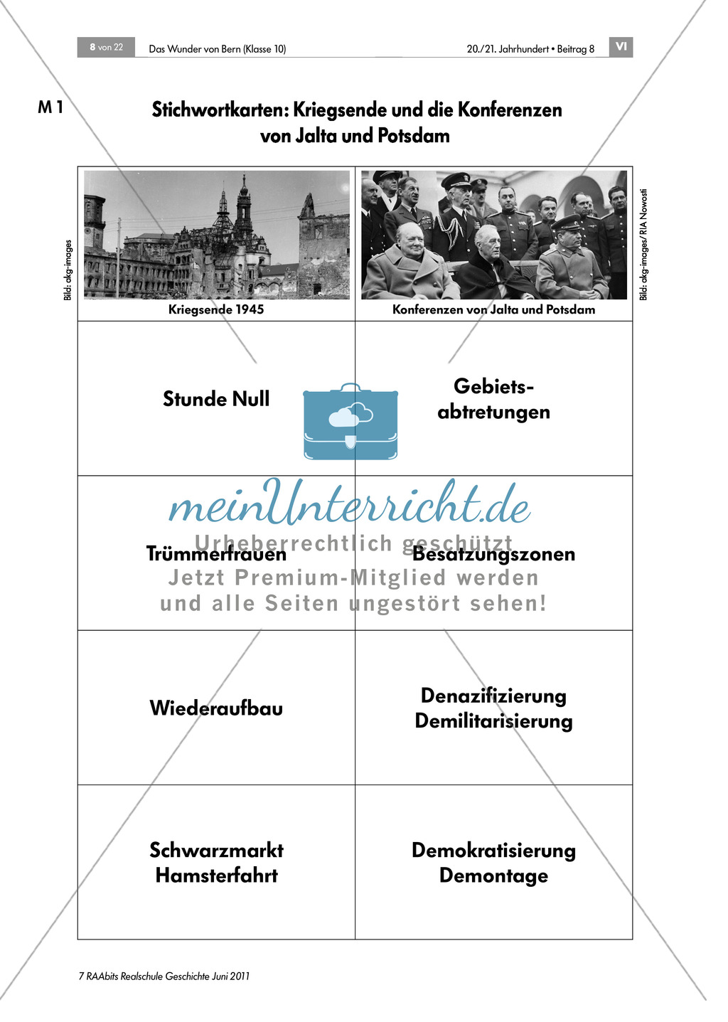 Vorwissen Nachkriegszeit:Stichwortkarten Preview 0