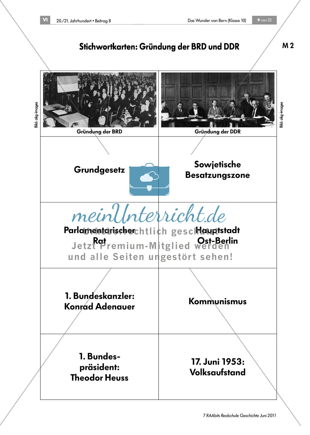 Vorwissen Nachkriegszeit:Stichwortkarten Preview 1