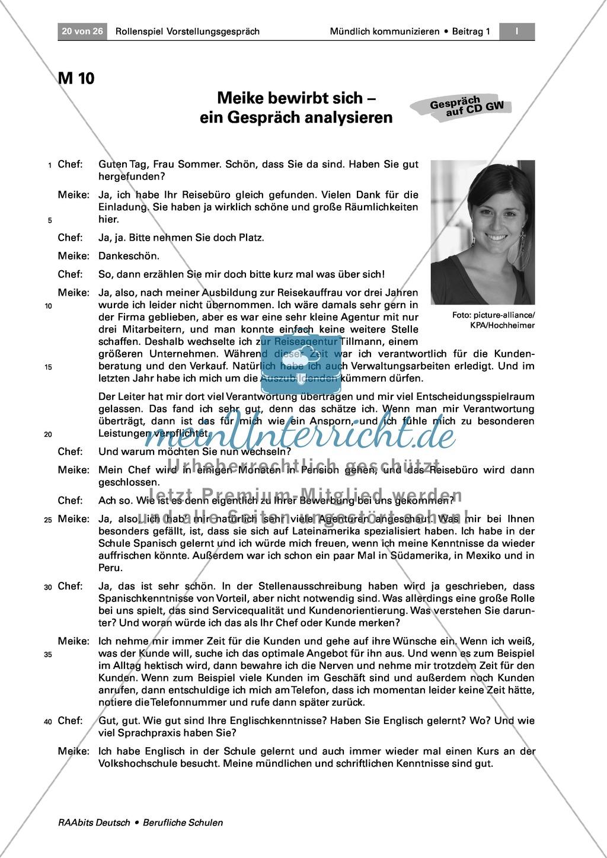 Thema Bewerbung: Ein Bewerbungsgespräch analysieren + Ratschläge formulieren Preview 0
