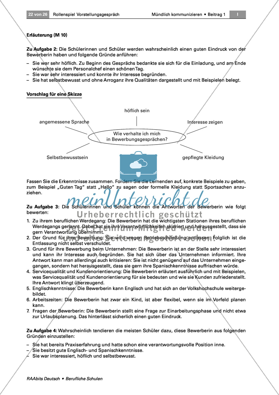 Thema Bewerbung: Ein Bewerbungsgespräch analysieren + Ratschläge formulieren Preview 2