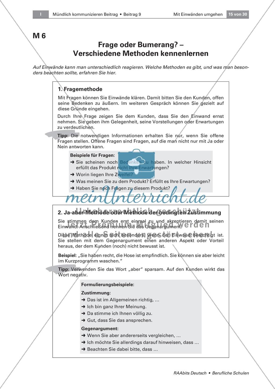 Mit Einwänden umgehen können: Methoden der Einwandbehandlung kennen und einsetzen Preview 1