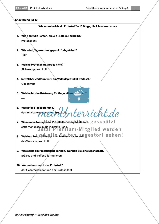 Ein Protokoll schreiben: Lernkontrolle - ein Ergebnisprotokoll verfassen Preview 1