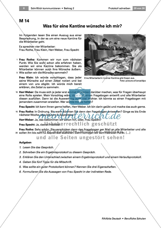 Ein Protokoll schreiben: Lernkontrolle - ein Ergebnisprotokoll verfassen Preview 2