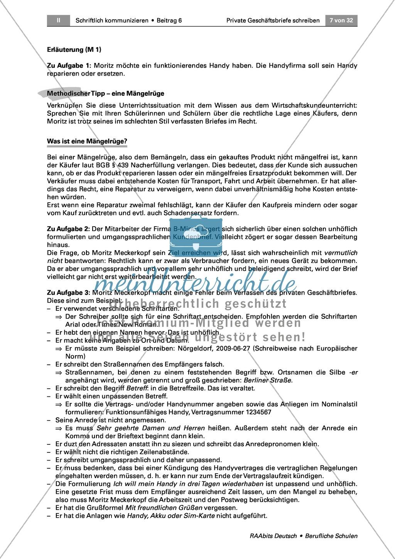 Private Geschäftsbriefe schreiben: Anlässe + Aufbau Preview 1