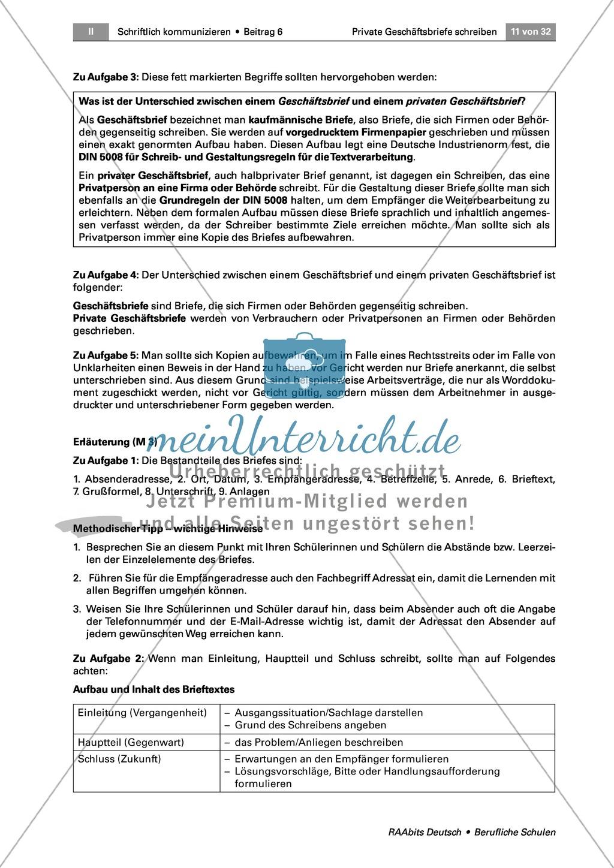 Private Geschäftsbriefe schreiben: Anlässe + Aufbau Preview 5