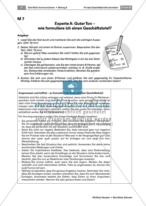 Private Geschäftsbriefe Schreiben Ziele Formulieren Guter Stil