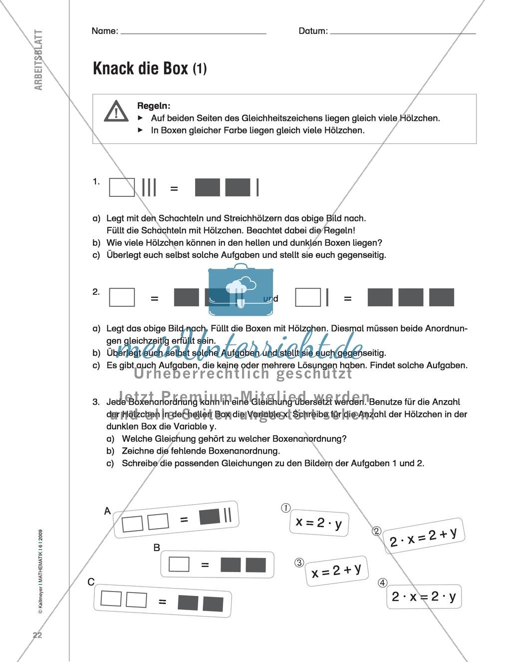 Handlungsorientierte Aufgabe zur Berechnung von Gleichungen mit ...