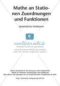 Stationenlernen Mathematik: Quadratische Funktionen Preview 2