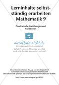 Lerninhalte selbstständig erarbeiten Thema Quadratische Gleichungen und Funktionen Preview 2