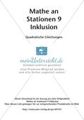 Mathe an Stationen - Inklusion: Quadratische Gleichungen Preview 2