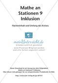 Mathe an Stationen - Inklusion: Flächeninhalt und Umfang des Kreises Preview 2