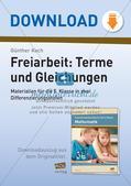 Terme und Gleichungen: Materialien in zwei Differenzierungsstufen Preview 1