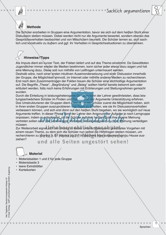 Deutsch kooperativ Sachlich argumentieren - meinUnterricht