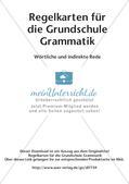 Regelkarten Grammatik: Wörtliche und indirekte Rede Preview 2
