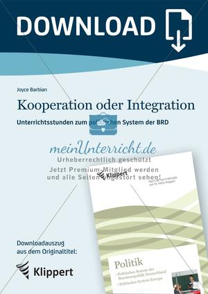 Unterrichtsstunden zum politischen System der BRD: Kooperation oder Integration?