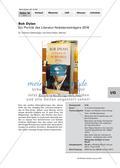Musik_neu, Sekundarstufe I, Musikpraxis, Musikgeschichte, Musiktheorie, Stimme, Spielen von Musikinstrumenten, Musik hören, Jazz/ Popularmusik, Portraits von Komponisten/ Interpreten, Tonsystem, Noten- und Pausenwerte, Lieder singen/ Liedrepertoire erarbeiten, Musik beschreiben, Musik bewerten, Stile der Popularmusik, Popularmusik, Lieder der Popularmusik, USA - 1960er, Stimme des Sängers, Stimmung eines Liedes, Notentext, Protest-Song, Evergreen, Spielsatz, Diskussionsrunde führen, Masters of War, Oxford Town, Hey Mr. Tambourine Man, Saved