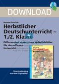 Deutsch_neu, Primarstufe, Richtig Schreiben, Worttrennung, Mehrsilbige einfache und suffigierte Wörter, Differenzierung, Anlaute, Silben, Sätze, Wörter, Lückentext, Wortkarten, Adjektive