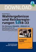 Wahlergebnisse und Reichsregierungen 1918-33 Preview 1