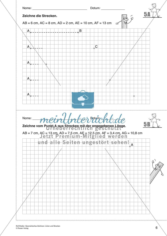 Das geometrische Zeichnen Linien und Strecken   meinUnterricht