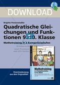 Die quadratischen Gleichungen und Funktionen Preview 1