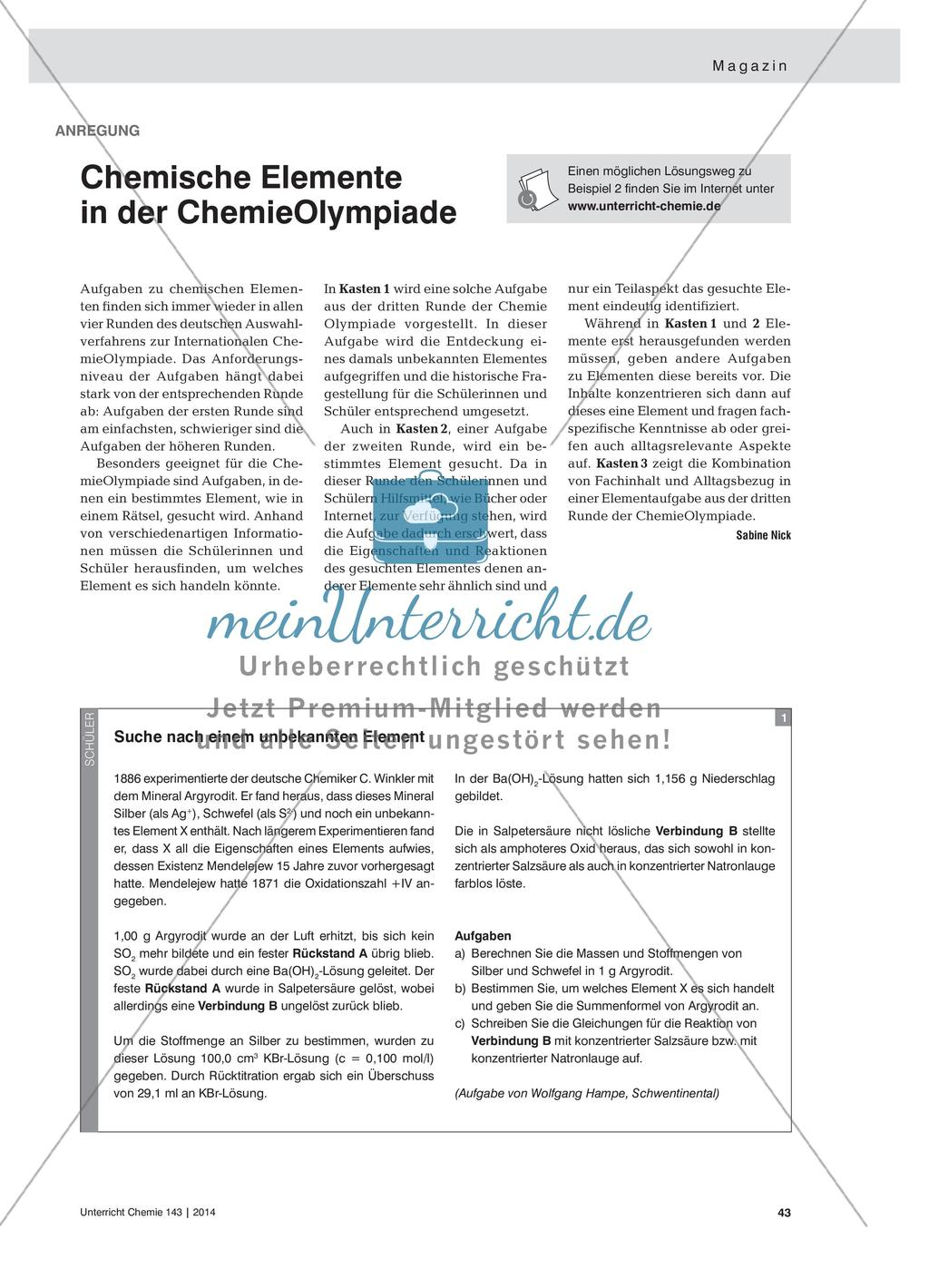 Chemische Elemente In Der Chemieolympiade Meinunterricht