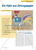 Ein Hahn aus Zeitungspapier: Collagieren in der Reißtechnik Preview 1