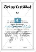 Ein Zirkus-Zertifikat zum Abschluss der Unterrichtseinheit Preview 1