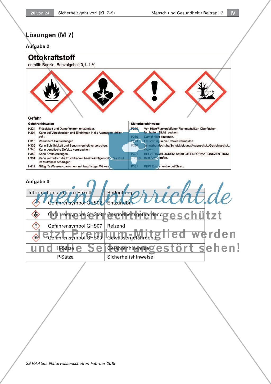 Sicherheit geht vor   Richtiges Verhalten im Chemieraum ...