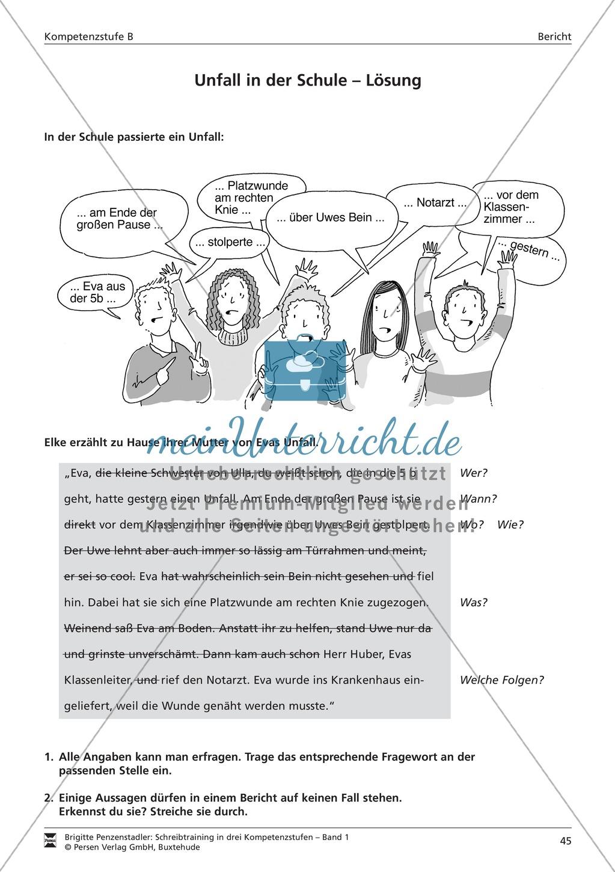 Schreibtraining Kompetenzstufe B: Bericht: Arbeitsblätter mit Lösungen Preview 1