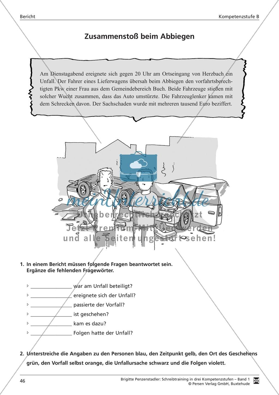 Schreibtraining Kompetenzstufe B: Bericht: Arbeitsblätter mit Lösungen Preview 2
