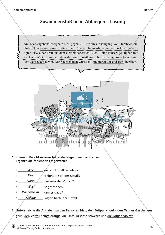 Schreibtraining Kompetenzstufe B: Bericht: Arbeitsblätter mit Lösungen Preview 3