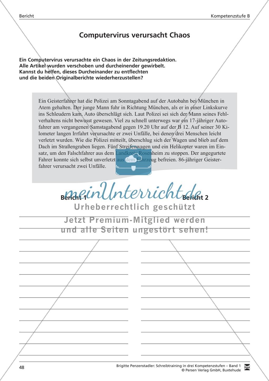 Schreibtraining Kompetenzstufe B: Bericht: Arbeitsblätter mit Lösungen Preview 4