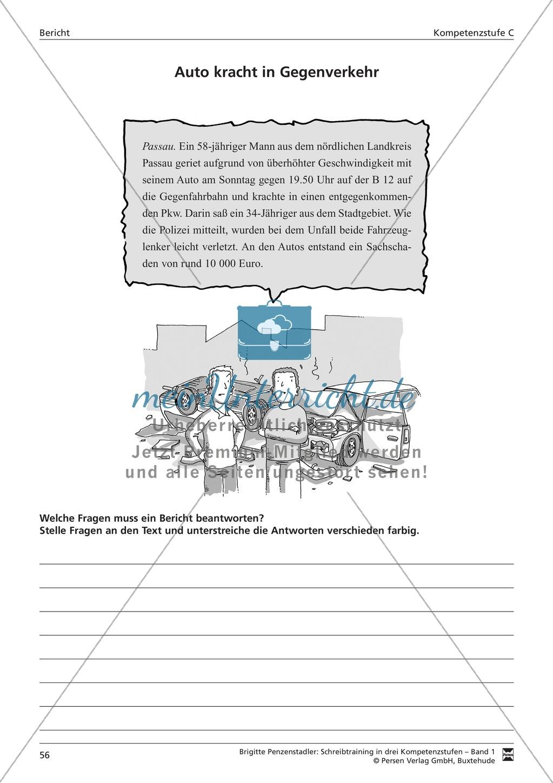Schreibtraining Kompetenzstufe C: Bericht: Arbeitsblätter mit Lösungen Preview 2