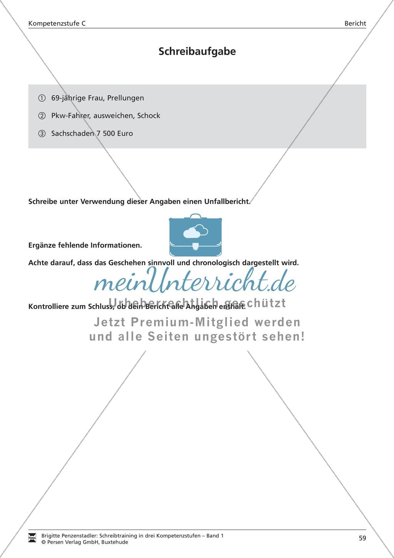 Schreibtraining Kompetenzstufe C: Bericht: Arbeitsblätter mit ...