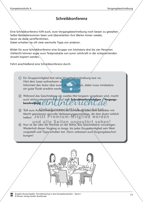 Schreibtraining Kompetenzstufe A: Vorgangsbeschreibung: Arbeitsblätter mit Lösungen Preview 9