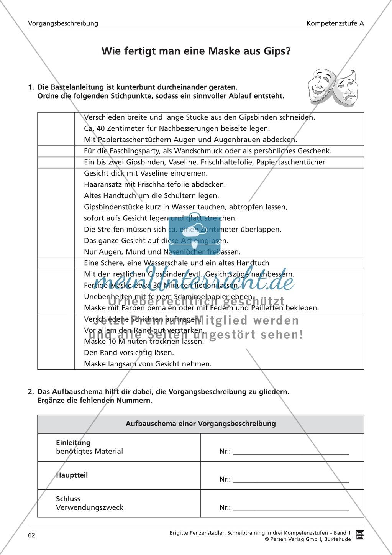 Schreibtraining Kompetenzstufe A: Vorgangsbeschreibung: Arbeitsblätter mit Lösungen Preview 0