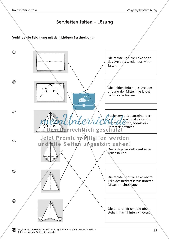 Schreibtraining Kompetenzstufe A: Vorgangsbeschreibung: Arbeitsblätter mit Lösungen Preview 3