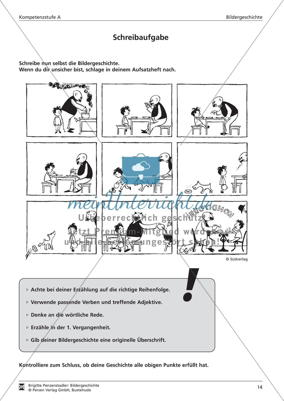 Eine Bildergeschichte schreiben und Schreibkonferenz halten: Bilder, Aufgaben, Arbeitsbogen (niedriges Niveau) Preview 1