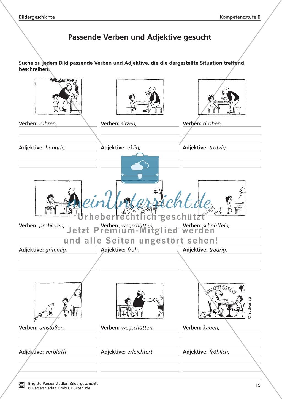 Passende Verben und Adjektive zu Bildern suchen: Übung und Lösung Preview 0