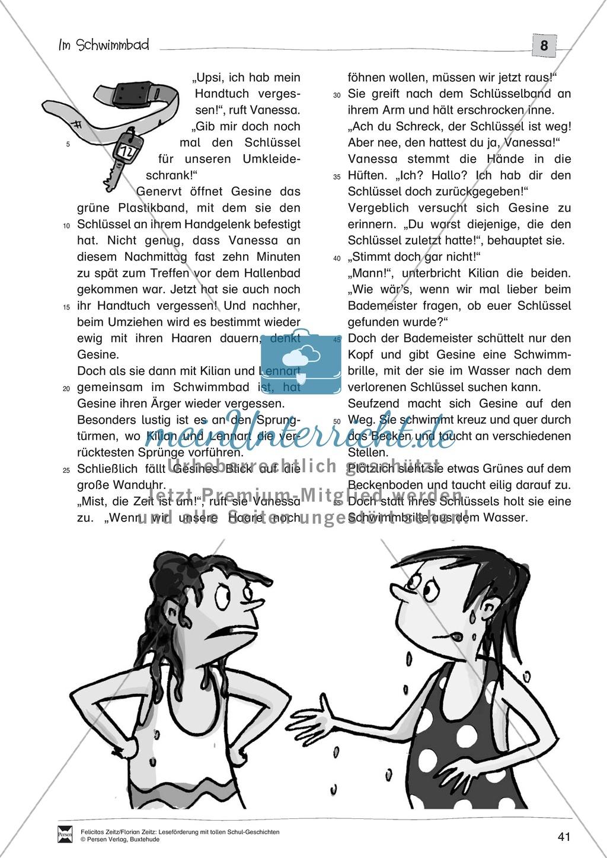 """Leseförderung """"Im Schwimmbad"""": Text +Übungen + Lösungen Preview 1"""