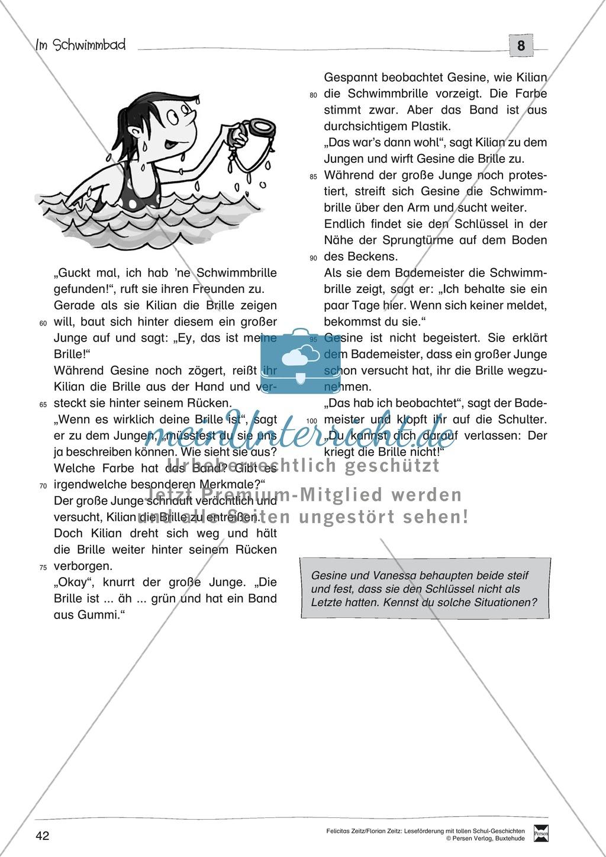 """Leseförderung """"Im Schwimmbad"""": Text +Übungen + Lösungen Preview 2"""